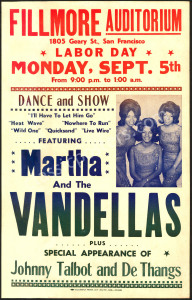 Rare AOR 1.63 Martha and the Vandellas at The Fillmore Poster