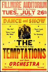 Rare AOR 1.59 Temptations at The Fillmore Poster
